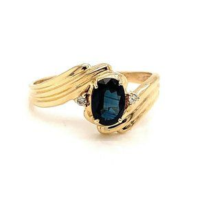 14K Gold, Sapphire & Diamond Ladies Size 8 Ring